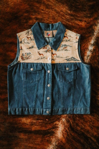 vintage southwest denim and desert antelope print vest large