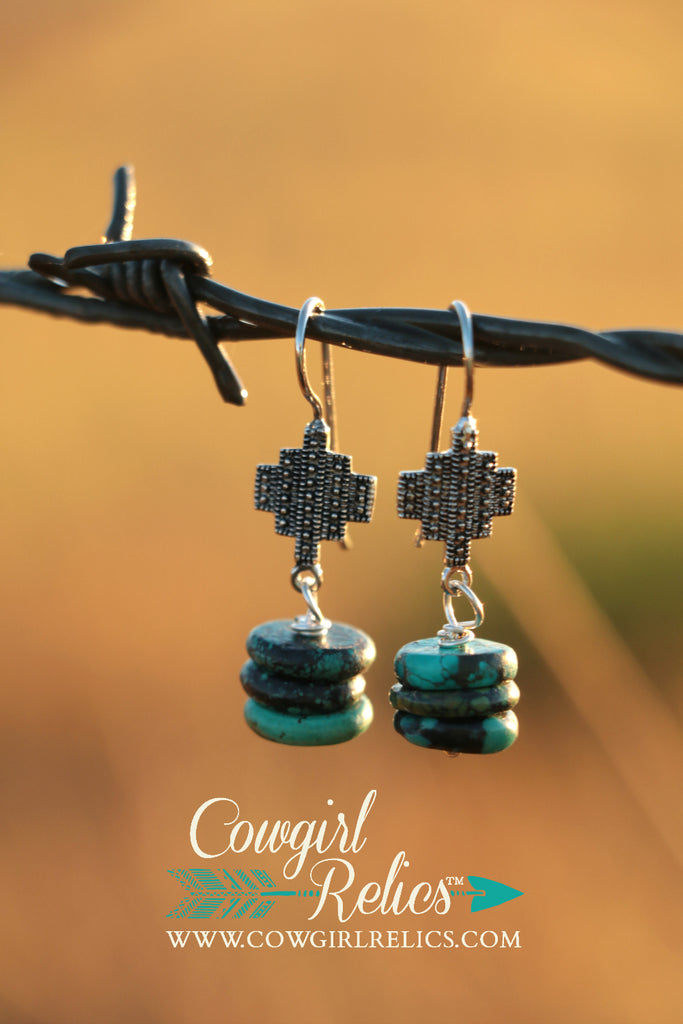 Ellie Silver and Turquoise Southwest Earrings - Cowgirl Relics