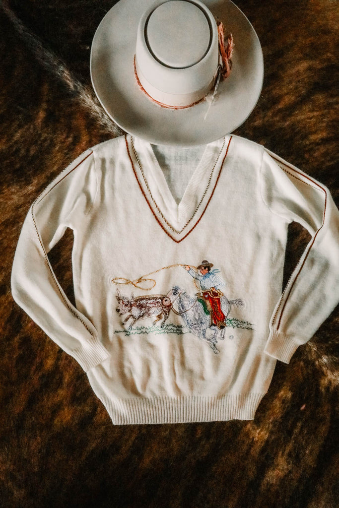vintage embroidered western roping cowboy sweater