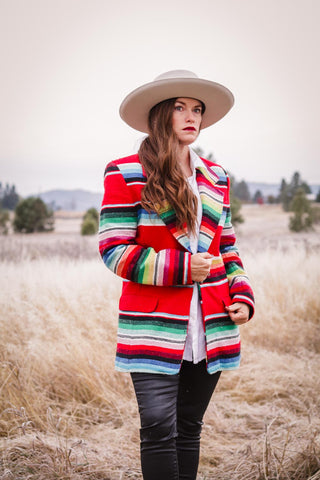 vintage striped southwest serape blazer