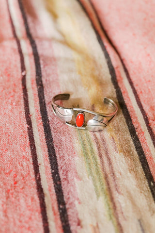 Vintage Sterling Silver and Coral Southwest Cuff