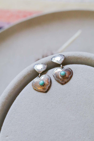 Vintage Sterling Silver and Turquoise Heart Earrings