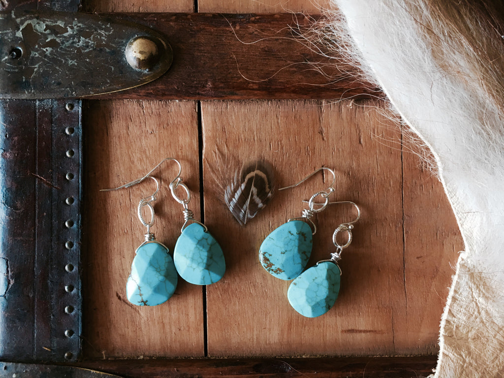 River Run Turquoise and Silver Earrings - Cowgirl Relics