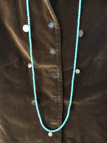 Great Spirit Necklace Turquoise Beaded Coin Charms - Cowgirl Relics