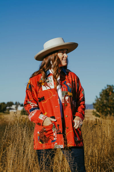 vintage western cowboy and horse barn coat