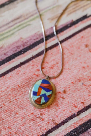 Vintage Southwest Inlay Necklace