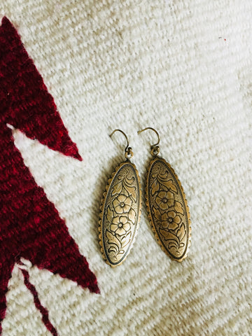 Briscoe Brass Floral Western Vintage Inspired Earrings - Cowgirl Relics