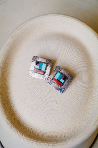 vintage southwest inlay earrings