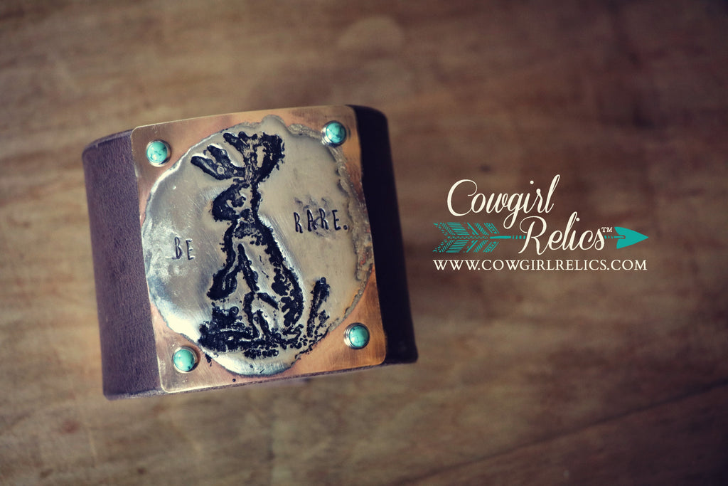 Be Rare Jackalope Western Leather Cuff (Without Fringe) - Cowgirl Relics