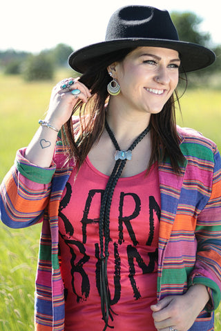 Arroyo Deerskin and Concho Bolo Necklace - Cowgirl Relics