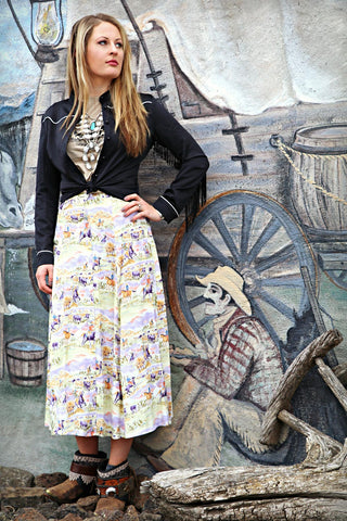 Vintage Western Print Skirt - Cowgirl Relics