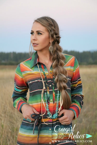 Layton Turquoise and Leather Western Necklace - Cowgirl Relics