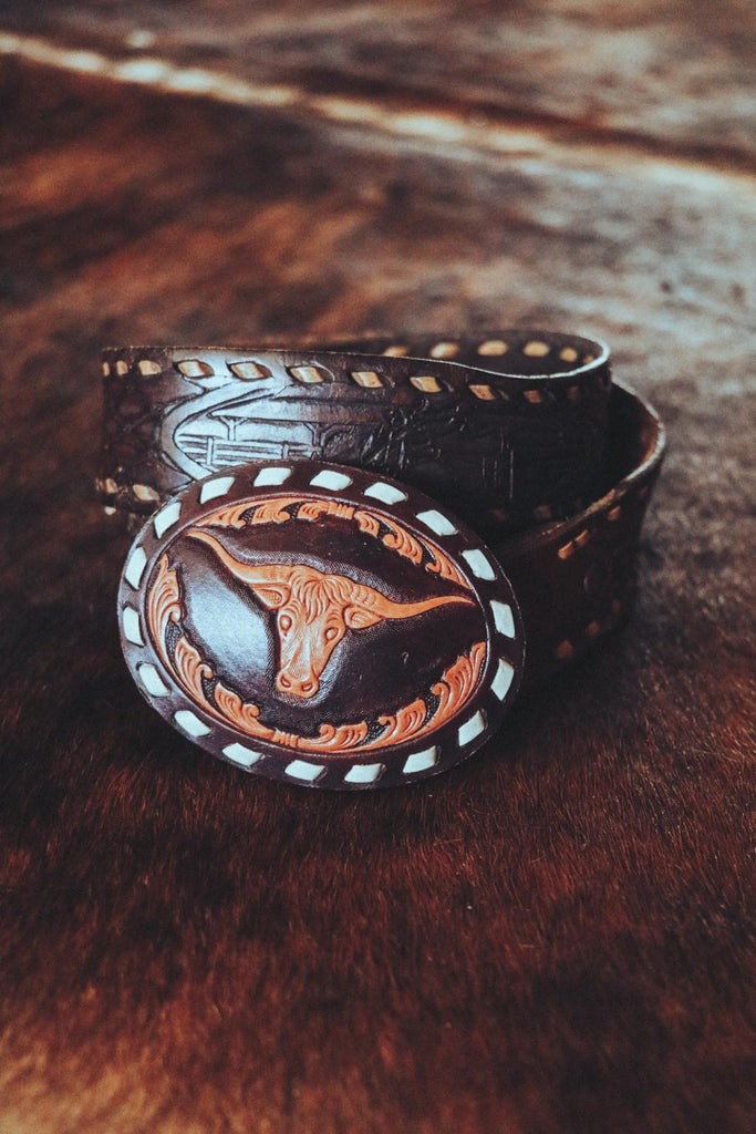 vintage leather longhorn buck stitch western belt buckle