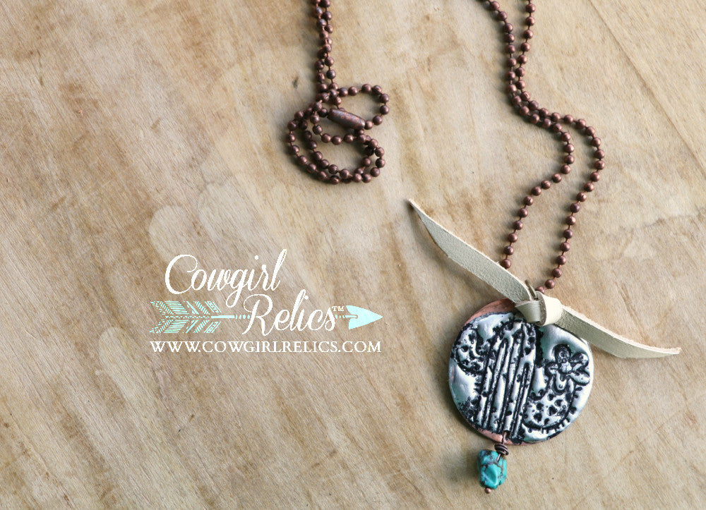 Little Cactus Necklace With Turquoise and Leather - Cowgirl Relics