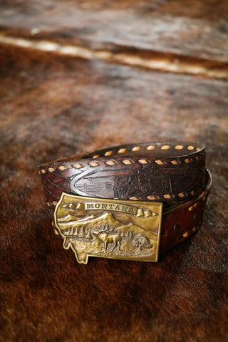 vintage brass montana state shaped western belt buckle