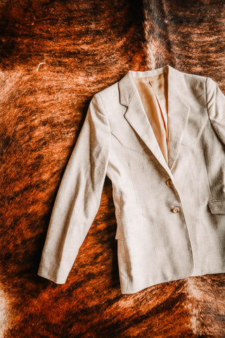 vintage ms pioneer light tan western blazer