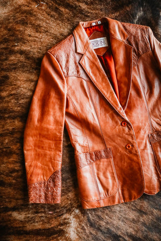 vintage leather and ostrich western blazer
