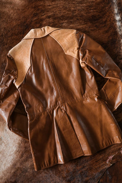 Vintage Leather and Embossed Ostrich Western Blazer - Cowgirl Relics
