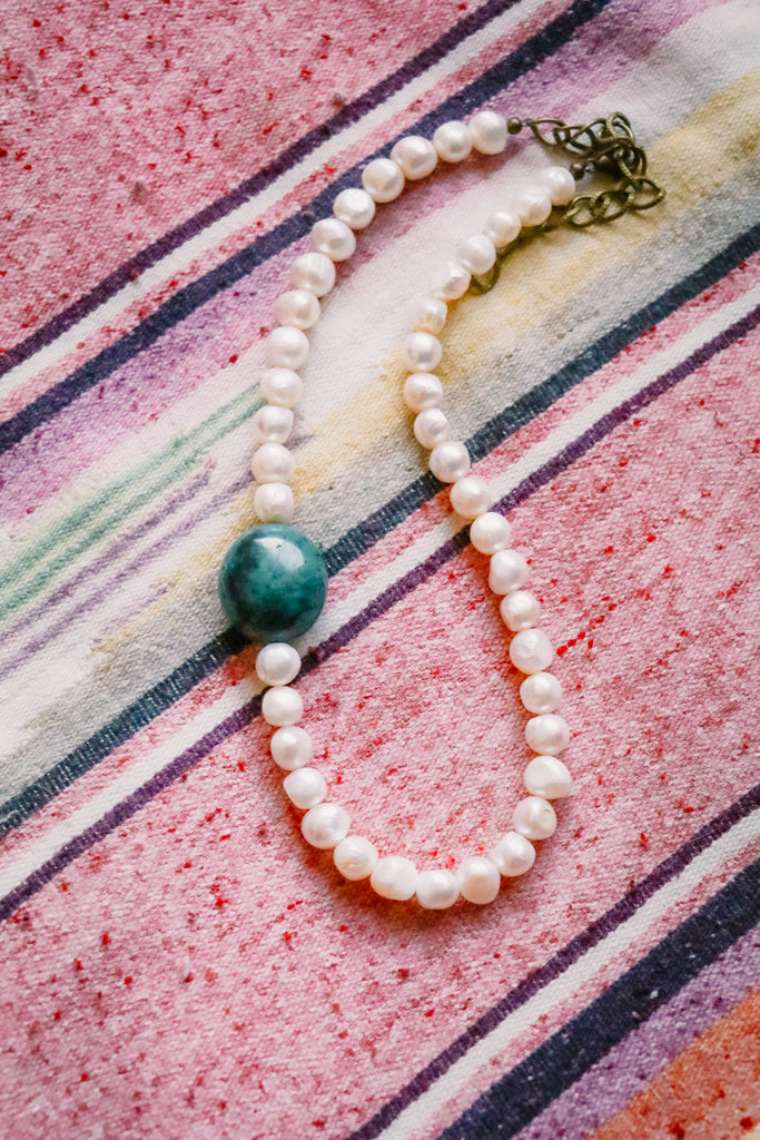 Pearl and Turquoise Elegant Western Chic Necklace