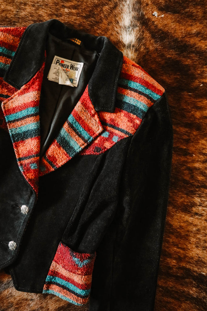 vintage black suede and colorful southwest pioneer wear jacket medium