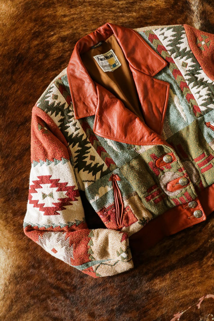 vintage southwest tapestry and leather pioneer wear bomber jacket