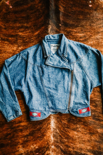 vintage pioneer wear denim southwest jacket