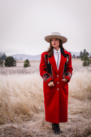 vintage pioneer wear red chimayo coat