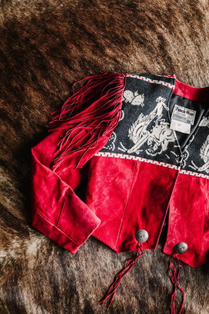 vintage pioneer wear red suede and cowboy print fringe jacket