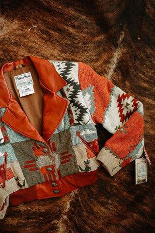 vintage pioneer wear southwest tapestry style bomber jacket large new with tags