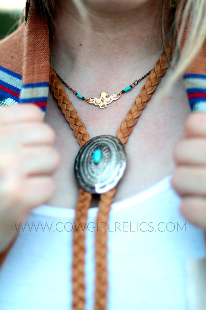 Rain Bird Necklace-Brass Thunderbird Southwest Choker - Cowgirl Relics