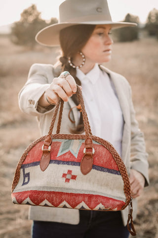 Red and tan Kilim Southwest Tapestry Purse