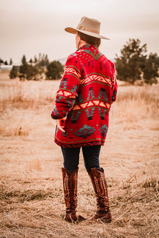 vintage silverado red southwest jacket