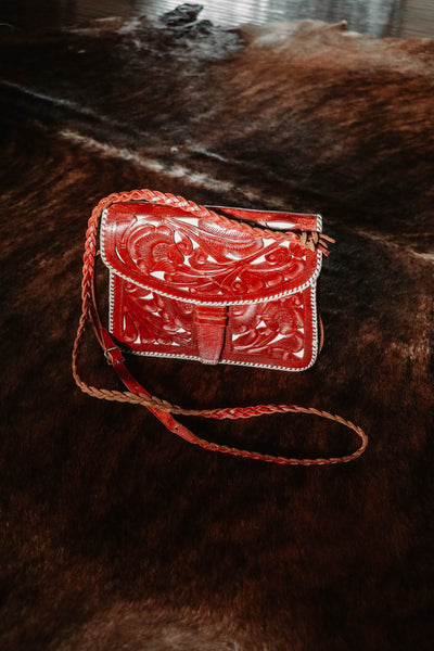 Vintage Tooled Red Leather Western Purse