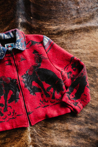 vintage red and black cowboy print western jacket