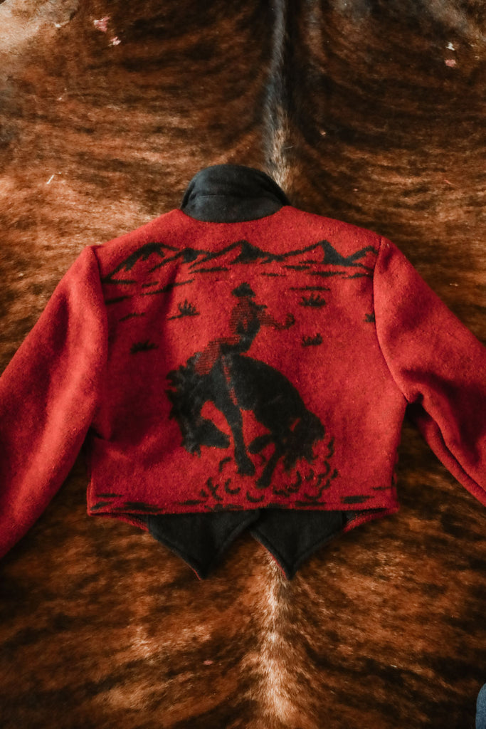 vintage red and black cowboy western jacket