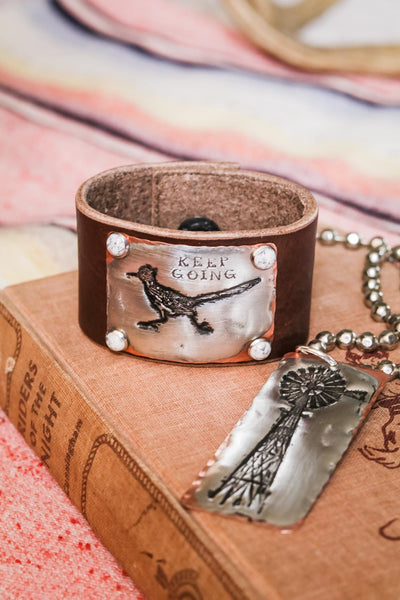 Roadrunner Keep Going Western Leather Cuff Bracelet - Cowgirl Relics