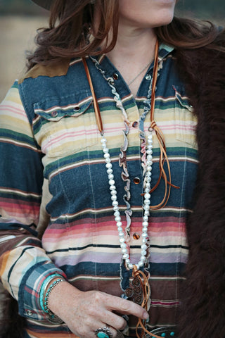 Rusty Rose Pearl and Deerskin Western Necklace - Cowgirl Relics