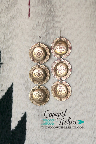 Sand Hills Brass Concho Western Earrings - Cowgirl Relics