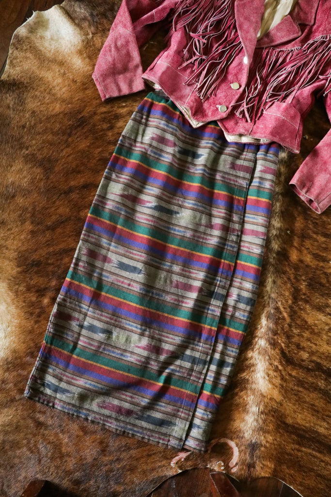 vintage serape print southwest wrap skirt small