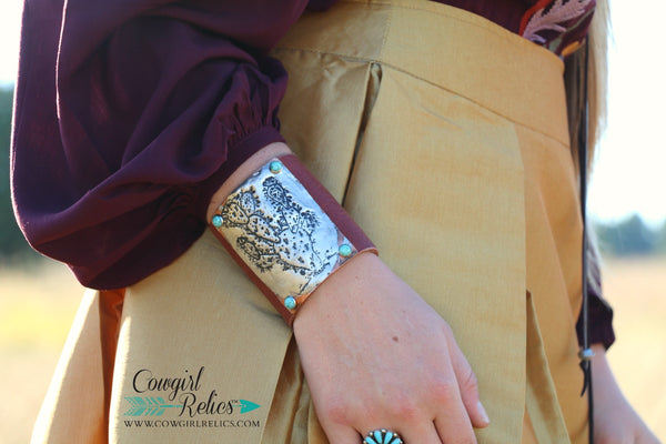 Prickly Pear Leather Cuff - Cowgirl Relics