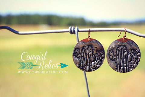 Soldered Cactus Western Earrings - Cowgirl Relics