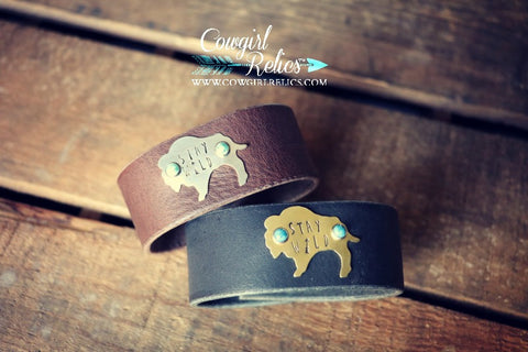 Stay Wild Buffalo Western Leather Cuff - Cowgirl Relics