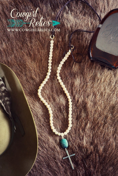 Stella Elegant Pearl and Turquoise Western Necklace