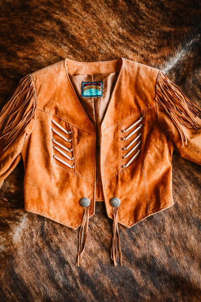 Vintage Southwest Pioneer Wear Leather Fringe Jacket