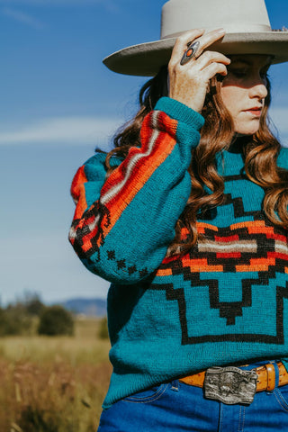 vintage teal pendleton southwest sweater