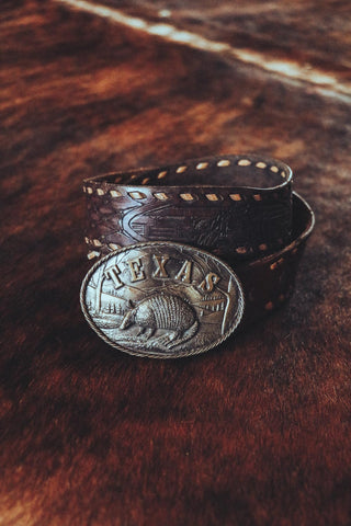 vintage brass texas armadillo western belt buckle