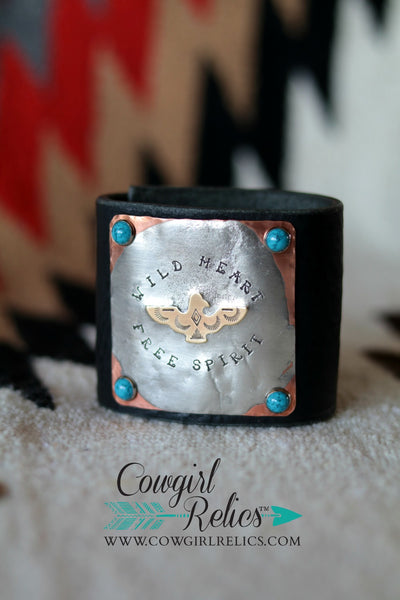 Wild Heart Free Spirit Thunderbird Leather Cuff - Cowgirl Relics