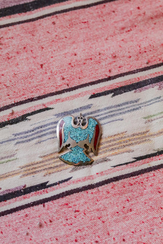 Vintage Southwest Turquoise and Coral Inlay Thunderbird Pendant