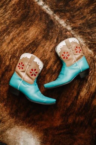Vintage Tony Lama Turquoise Floral Shorty Boots