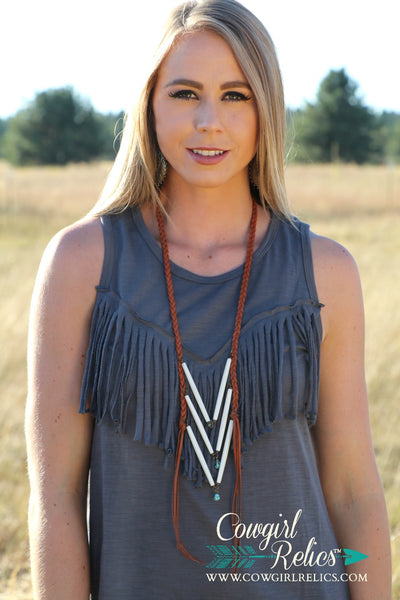 Two Bear Necklace--Deerskin Breastplate Necklace - Cowgirl Relics